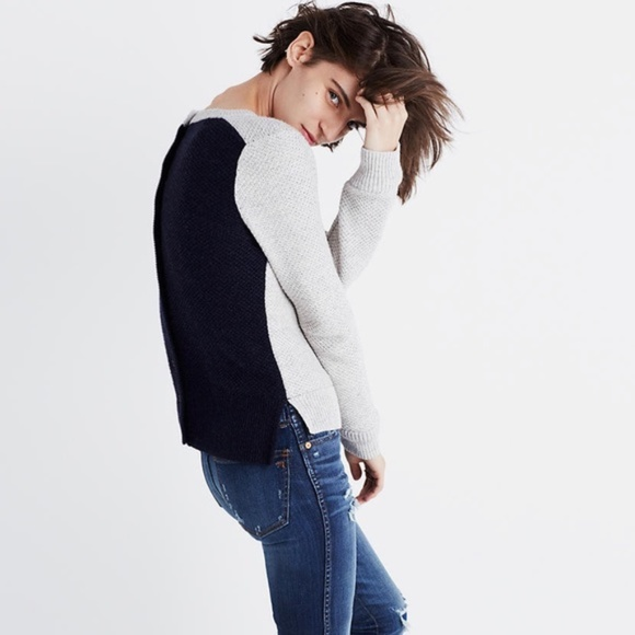 Madewell backroad button-back colour-block sweater